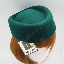 CLASSIC Wool Felt Women Fascinator Ladies Pillbox Hat Headpiece WEDDING | Green