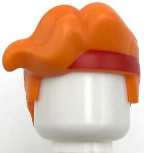 Lego New Orange Minifigure Hair Large Parted Bangs Red Headband Pattern