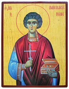 SAINT PANTELEIMON, THE GREAT MARTYR-Greek Byzantine Orthodox Icon