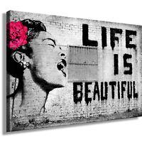Graffiti Banksy Bild auf Leinwand - Street Art  Kunstdruck, Wandbild, k. Poster