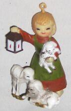 "Red Head 3"" Girl in Red Green Dress w 3 Lambs Figurine with Lantern"