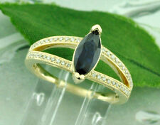 14k Solid Yellow gold Natural Marquise Blue Sapphire  &  Diamond Ring 1.38 ct