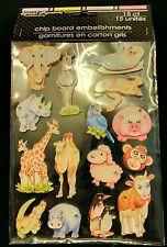 15 Jungle Sea Animal Chip Board Embellishments Scrapbook Rhinestone Stickers New