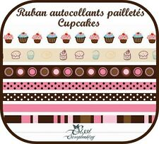 LOT RUBAN ROSE MARRON CUPCAKES PAILLETÉ AUTOCOLLANT ADHÉSIF SCRAPBOOKING SCRAP