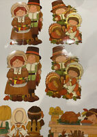 Vintage 17 Piece Thanksgiving Cut Outs Pilgrims Indians  Turkeys Haystack Feast
