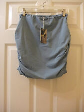 Synergy Clothing Essential Ruched Mini Skirt Wash Denim Organic Cotton Med NEW