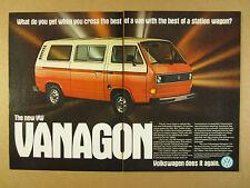 1980 VW Volkswagen Vanagon orange & white van bus photo vintage print Ad