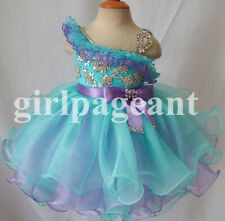 Infant/toddler/baby blue Pageant Dress with hair bow 179-1