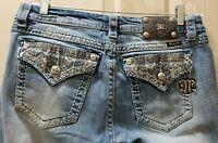 Miss Me Signature Cropped Denim Distressed Jean. Size 31 Rise 8.5 Waist 17=34X26