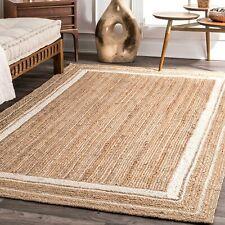 Rug Natural White Border Jute Braided Rug Hemp Carpet Modern Living Area Rug
