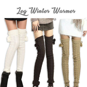 Women Winter Leg Warmer Socks Lace Knitted Soft Knee High Boot Cover Brown Grey