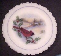 Fenton Glass Cardinals in Churchyard Birds of Winter Series 1987 Limited Edition