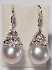 14.7x20mm Blanco SUR mar perla pendientes largos, DIAMANTES, SÓLIDO 18ct Oro
