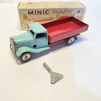 Boxed Triang Minic Tinplate Clockwork Flatbed Delivery Lorry Original Conditon