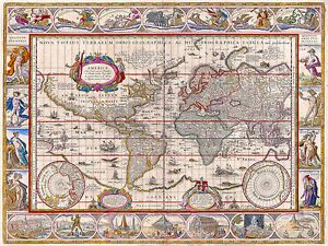 Antique World Map, Old Vintage Map, 1571, Fade Resistant HD Art Print or Canvas