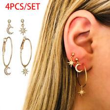 4pcs/set Bohemian Large Circle Earrings Ear Clip Crystal Moon Star Stud Jewelry