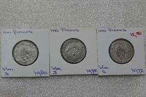 CHAD 100 FRANCS 1972/75/80 - 3 COINS B38 POL93