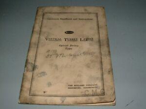 1960 Bullard Vertical Turret Lathes, Spiral Drive, Operators Handbook, Instruct