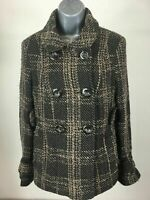 WOMENS NEXT BROWN & BLACK CHECK PLAID BUTTON UP JACKET COAT SIZE UK 10