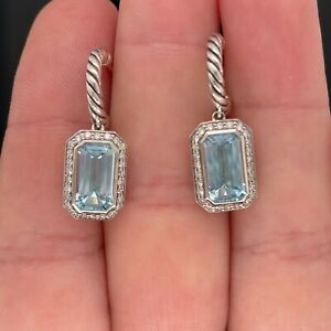 David Yurman Sterling Novella Cable Drop Earrings Blue Topaz $1200