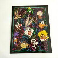 Vintage Looney Tunes Pocket Folder 1998 Bugs Bunny Taz Daffy Duck Marvin Martian
