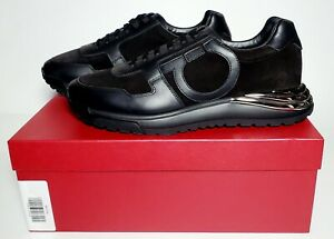 Salvatore Ferragamo Men's Brooklyn Calf Leather/Suede Sneakers, Black, 10 M