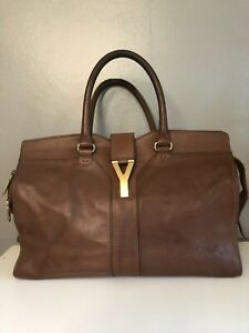 Yves Saint Laurent YSL Cabas Chyc Brown Leather Large Bag