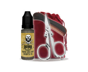 Beard Growing Kit - Beard Growin Oil, Pocket Beard Comb, Mini Scissors and Bag