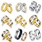 Stainless Steel Women Men Love Heart Couple Finger Band Rings Engagement Wedding