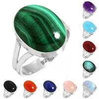 925 Sterling Silver Gemstone Ring Handmade Jewelry Size 5 6 7 8 9 10 11 12 cO887