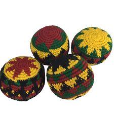 Set of 4 Hacky Sacks Juggling Balls Footbag Rasta Made In Guatemala Magic Toy