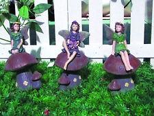 Gardenwize Garden Gravestone 3 Pack Fairy On Toadstools Ornament Decoration