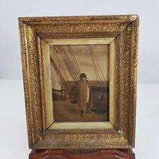 Small Antique Oil Painting Napoleon On Deck Monochrome Style Signed W.de C.P.