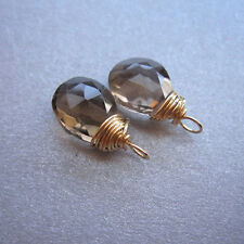 2 SMOKY QUARTZ Gemstone Drops for Interchangeable Earrings
