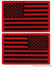 LOT 2 US AMERICAN FLAG MILITARY UNIFORM BLACK PATCH iron-on BLACK RED VERSION