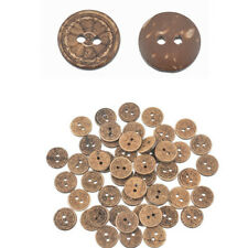 50PCS Wooden Two Holes Round Coffee Flower Buttons DIY Crafts Decpration 15mm
