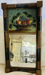 Antique American Federal Giltwood Reverse Painted  Mirror Circa 1820