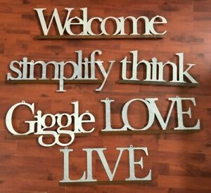 Farmhouse Rustic Metal Sign Lot of 6 Welcome Love Live Giggle Simplify Think
