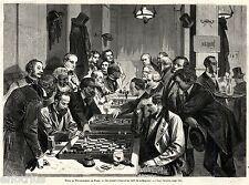 Giocatori di Scacchi. Grande Veduta.Capolavoro.Stampa Antica + Passepartout.1873