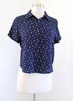 NWT Denim and Supply Ralph Lauren Star Print Cropped Button Down Shirt Top Sz M
