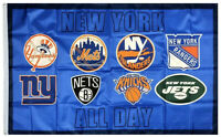 New York Yankees Knicks Mets Islanders Rangers Giants Nets Jets Flag  US shipper