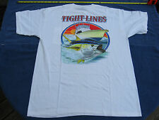 """Fish Head Gear~""""Tight Lines"""" Short Sleeve Large White Tee Shirt~New"""