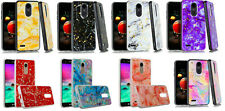 For LG Tribute Empire /LG Aristo 2/3 /LG Zone 4 Marble Glitter Case Phone Cover
