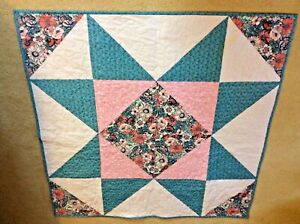 """Handmade Machine Quilted Large Star Lap/ Throw Quilt 44"""" Square New"""