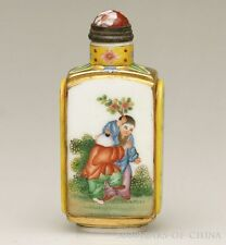 "Beautiful Old ""Ancient China Figure""  Enamel Glass Snuff Bottle"