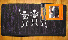 """Halloween Table Runner - Black Silver Threads Embroidered Skeletons 14 x 55"""""""