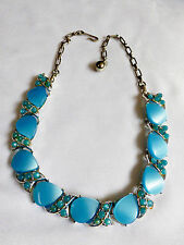 VTG AQUA BLUE THERMOSET SILVER TONE LINK COLLAR NECKLACE 16""