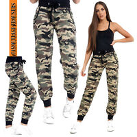 Women Camouflage High Waist Military Casual Loose Long Pant Trousers Multi-size