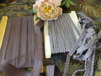 galon coton et galon lainage, gris  assortis ,neufs ,16m,80 en tout !!!!!