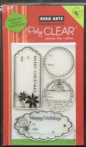 """Hero Arts Poly Clear """"Happy Holiday Tags"""" Stamps 4""""x6"""" *New*"""